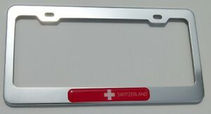 Switzerland Swiss flames Flag Black Plastic Car License plate frame dome decal