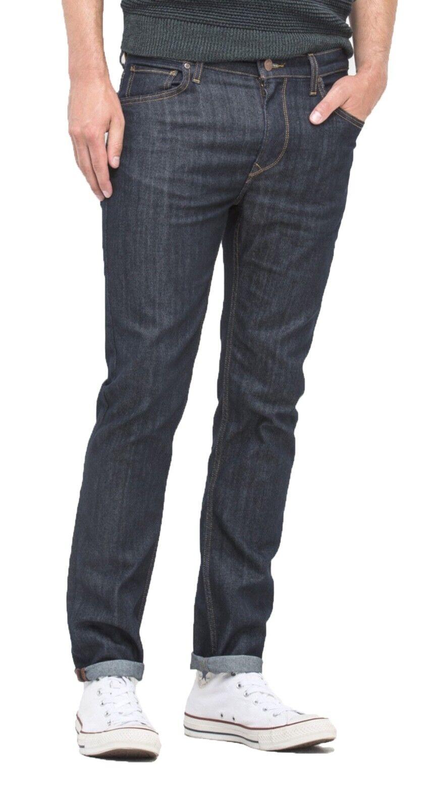 Lee Rider Men Regular Waist Tapered Slim Leg Stretch Denim Jeans Dark Rinse bluee