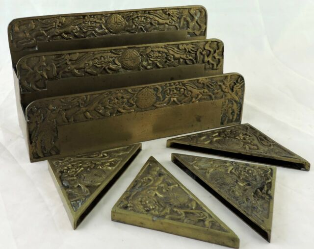 Chinese Export Brass Desk Set Paper Letter Holder W Divider Corners Foo Dogs