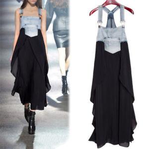 Retro-Suspender-Women-039-s-Overall-Denim-Chiffon-Summer-Loose-Long-Dress-Plus-Size