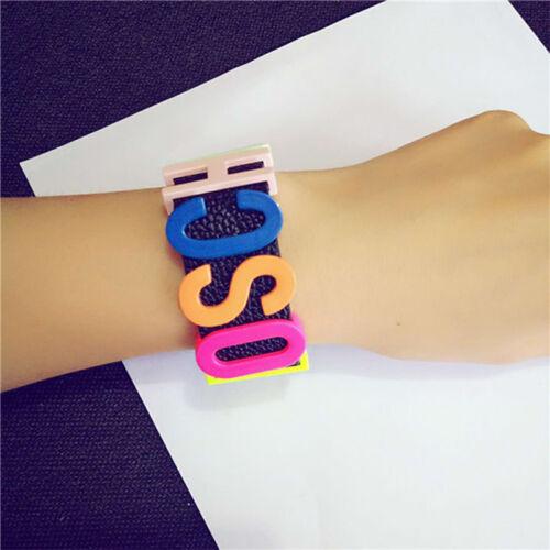MOSCHION Ladies Metal Colorized Letter Bracelets Black Leather Bracelet //MC-de