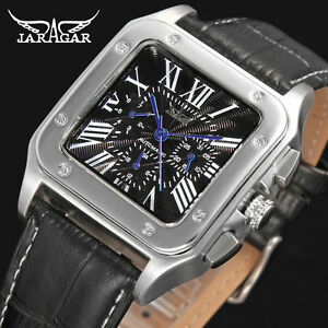 acff8929c4e Image is loading Automatic-Watch-Classic-Retro-Jaragar-Leather-Date-man-