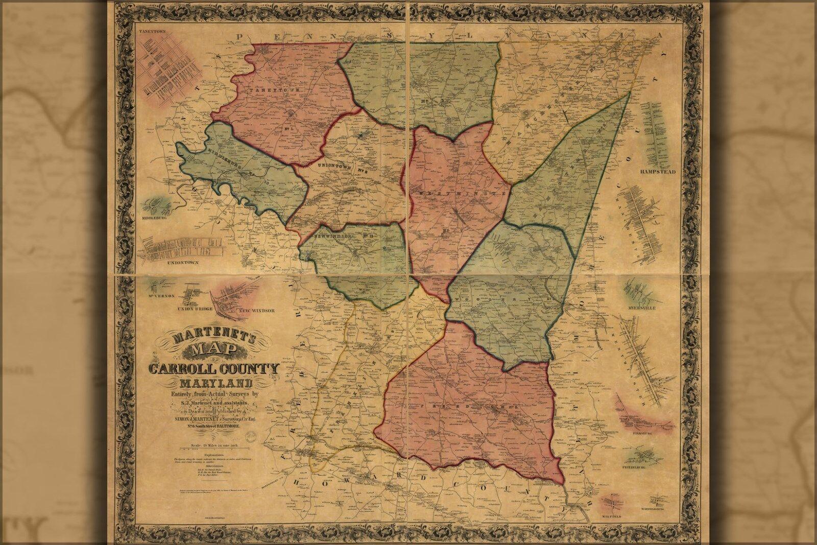Plakat, Viele Größen; Karte von Carroll Grafschaft, Maryland