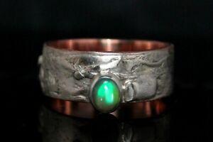 Breiter-Opalring-l-aus-925-Silber-amp-Kupfer-Unikat-Ring-mit-Opal-kunstvoll