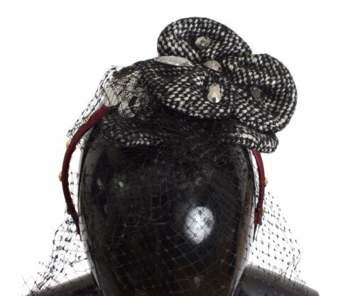 NEW DOLCE /& GABBANA Diadem Headband Tiara Black Floral Fascinator Hair Gold