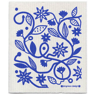 NEW-Flowers-and-Leaves-Blue-Design-Eco-Friendly-Kitchen-Dishcloth