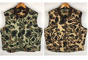 Vintage-10x-Camo-Duck-Vest-XL-Reversible-Camouflage-Insulated-USA-Hunting-Puffer
