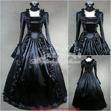 Victorian Lolita Gothic Palace  Princess Slim Black and White Longuette Dress