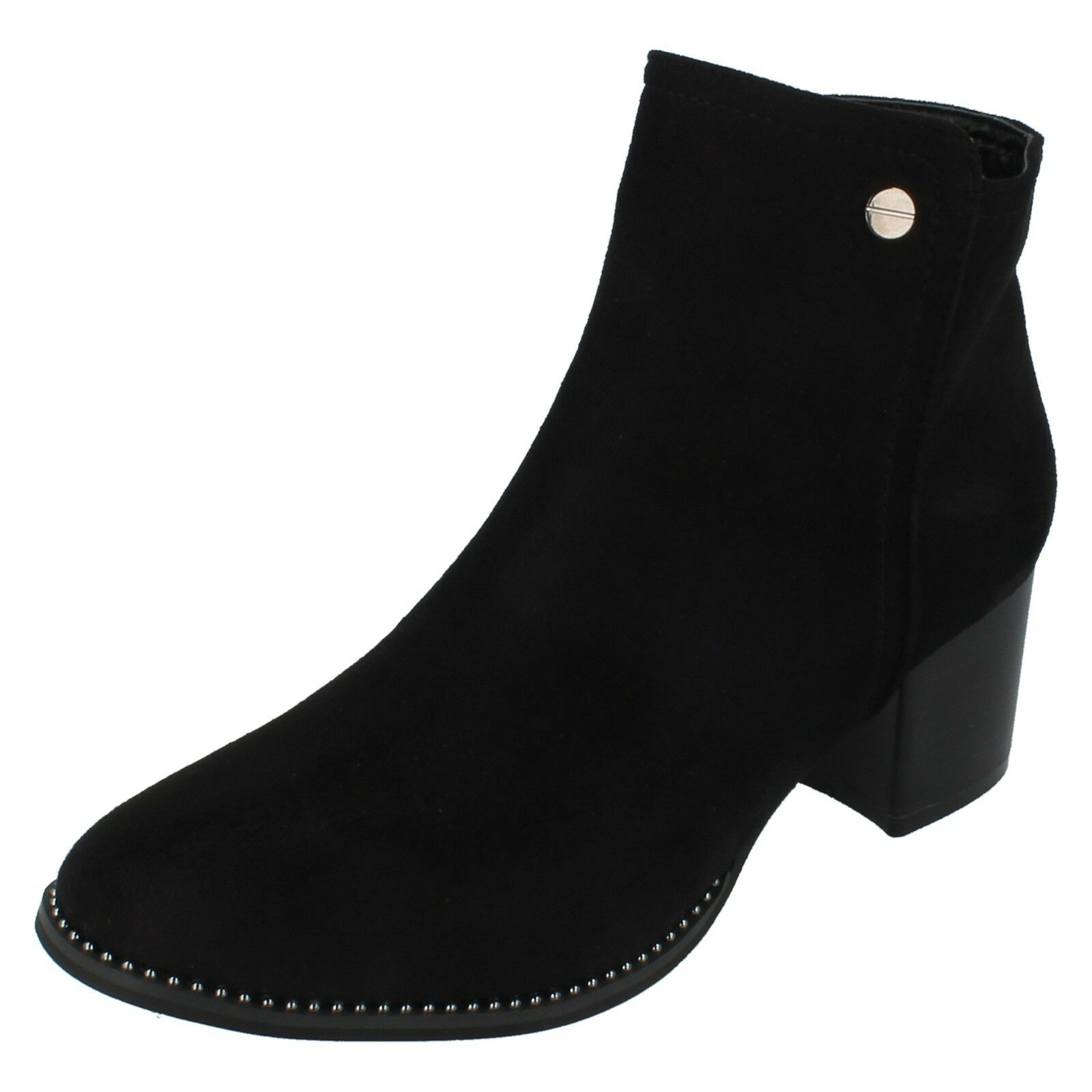 Ladies F5R0929 Zip Up Ankle Boot With Decorative Badge Detail By Spot On