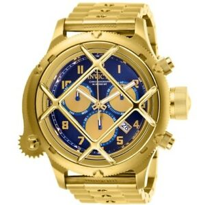 Invicta-26464-Russian-Diver-Nautilus-Gold-Chronograph-Navy-Blue-Dial-52MM-NEW