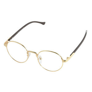 4de3c53ccb Vintage Men Oval Gold Eyeglass Frame Women Plain Glass Clear Full ...