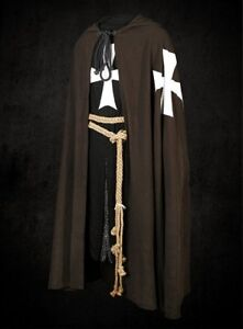 Medieval White Templar Crusader Tunic Surcoat /& Cloak Reenactment SCA Larp