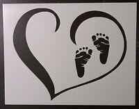 Baby Feet Foot Prints Footprints In Heart 11 X 8.5 Stencil Fast Free Shipping