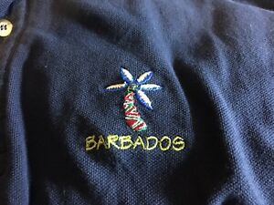 Barbados-Sun-Island-Cotton-Navy-Blue-Polo-Golf-Shirt-Mens-L-Palm-Tree-Jamaica
