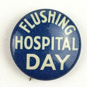 Vintage-Flushing-Hopital-Day-Eagle-Tegalia-Co-298-Broadway-Pinback-Button