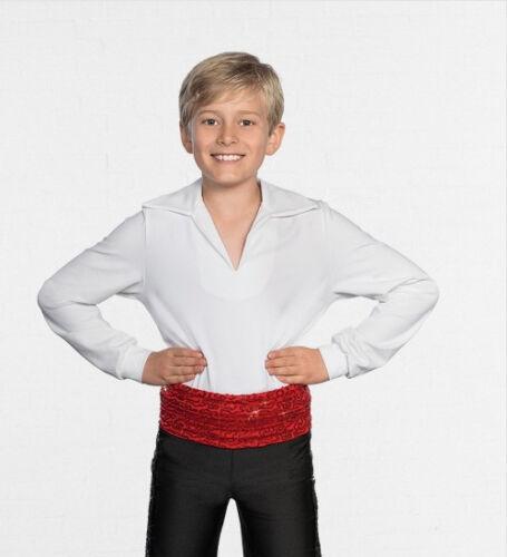 Boys White Lycra Ballet Shirt Dance Costume V neck Longer length Baggy Sleeve