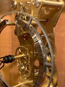 "Hermle ""Nolan"" 23047-R70762 Table desk Mantel skeleton Jeweled Clock, Coral Red"