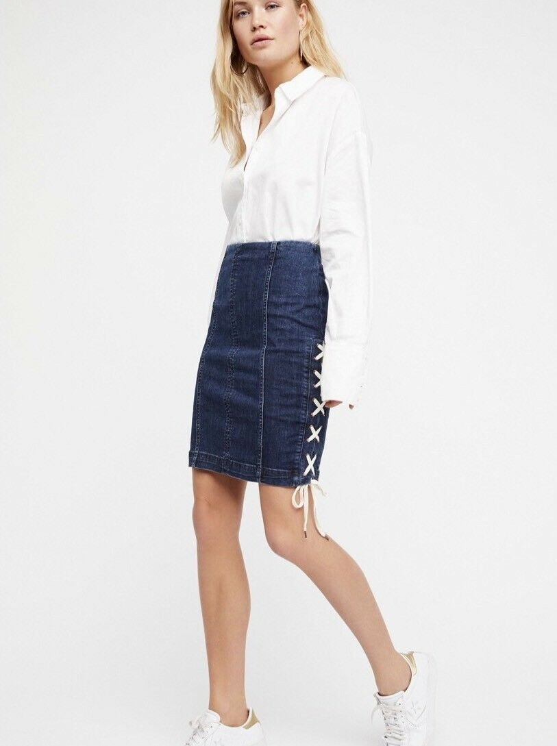 NEW FREE PEOPLE Sz 12 DENIM LACE-UP SKIRT  PENCIL STRAIGHT FITTED INDIGO blueE