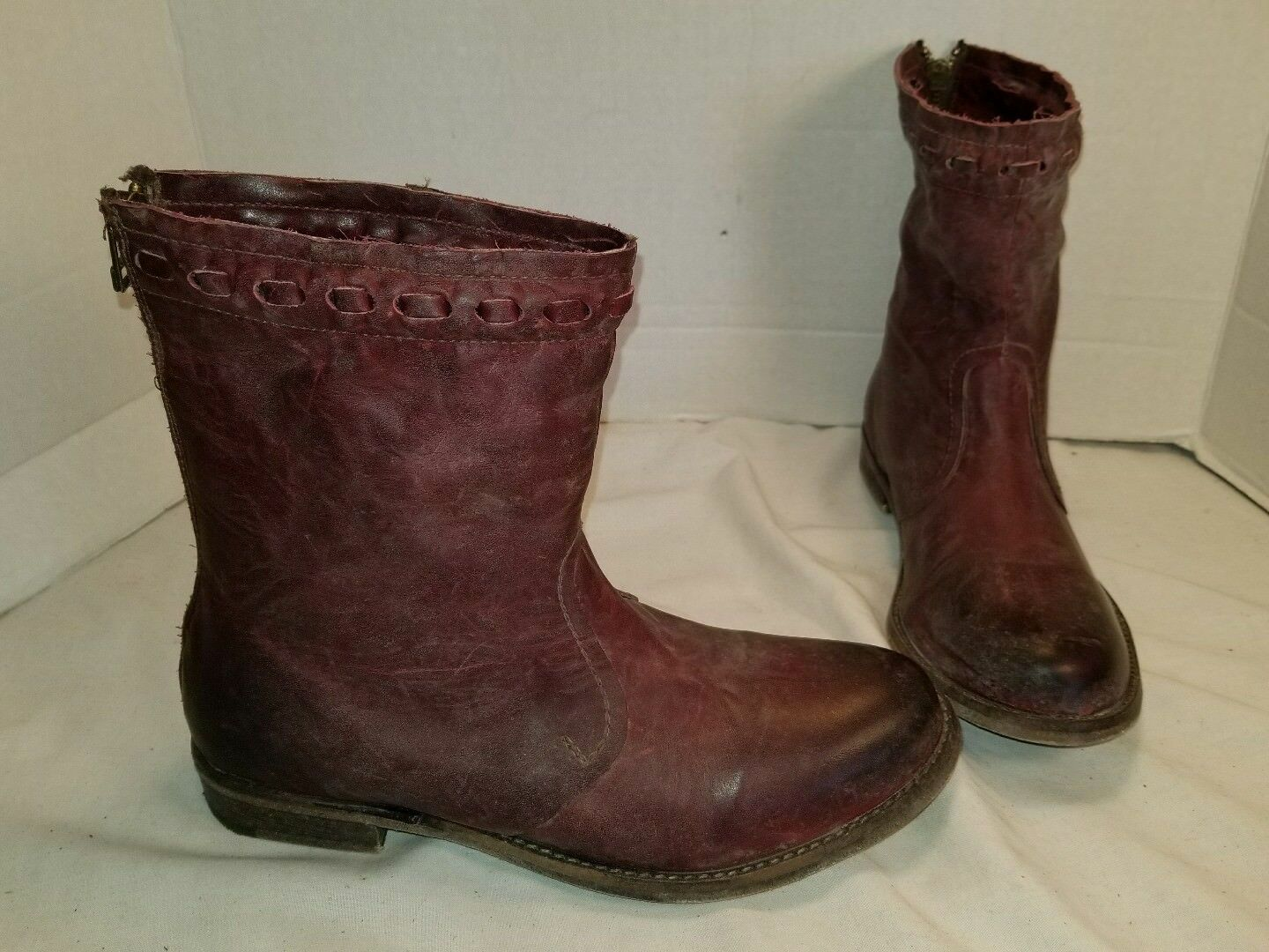 NEW FREE PEOPLE FARYLROBIN SPRING VALLEY OXBLOOD LEATHER ANKLE BOOTS US 7