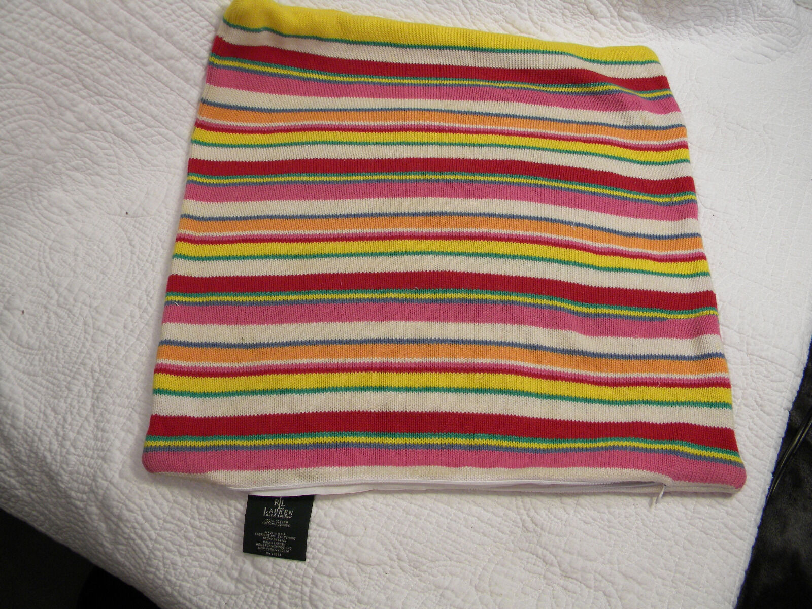 Set of 2Ralph Lauren Knit Multi-colord Striped Square Pillow Covers 100% Cotton