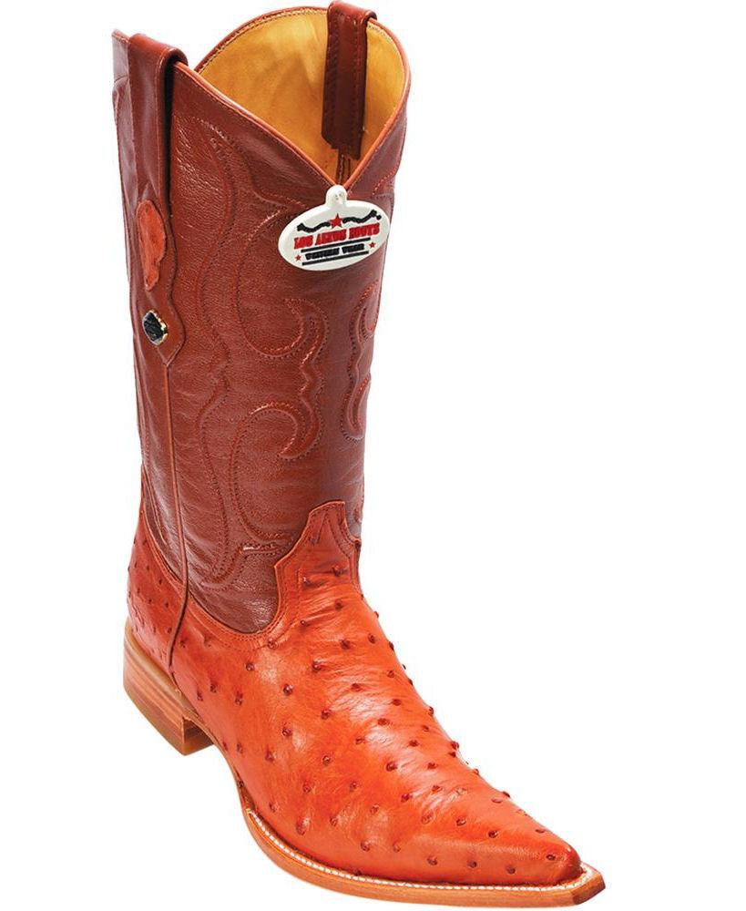 Los Altos Genuine COGNAC Ostrich 3X Toe Boots Handmade Western Cowboy EE