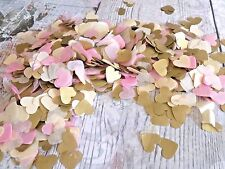 3000 vintage romantic tissue paper heart confetti Pink Cream and Gold wedding