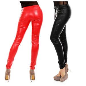 New York Bestpreis schön billig Details zu Damen Kunst-Lederhose Jeans Hose Röhrenhose schwarz rot slim fit  Leder-Optik