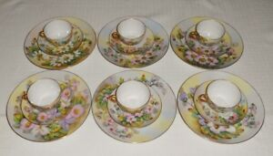 Hand-Painted-Floral-China-Thomas-amp-Czech-Porcelain-18-Pc-6-Plates-Cups-Saucers