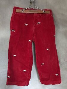 e85ebe13a3bfbf Toddler Boys Corduroy PANTS Crewcuts POINTER DOG Red Wide Wale Cords ...