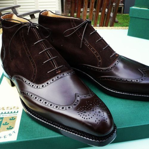 Mens Handmade Boots Genuine Suede /& Leather Mix Brogue Lace Up Formal Wear Boots