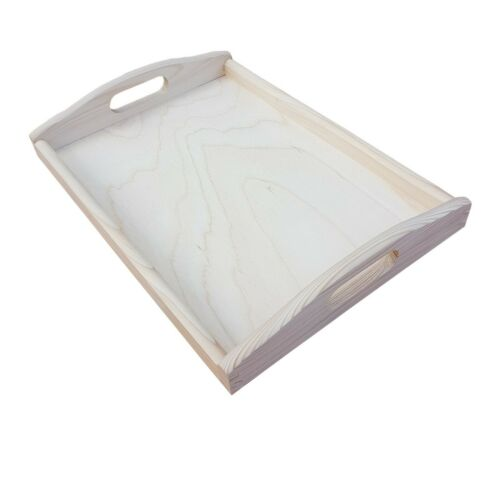 35 cm x 25 cm x 5.5 cm Set from 1 to 10 - Unpainted Wooden Serving Large Tray