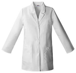 Scrubs-Dickies-Womens-32-034-Lab-Coat-White-84400-FREE-SHIPPING