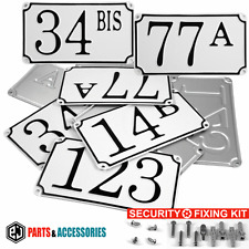 White Pressed French House Number Door Gate plate metal sign plaque 100-999