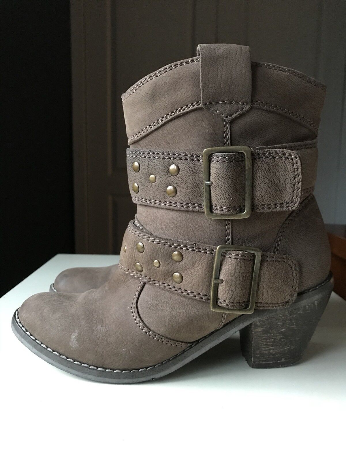 NEXT Designer Brown Leather Women Ladies Ankle High Heel shoes Boot Size 4 37