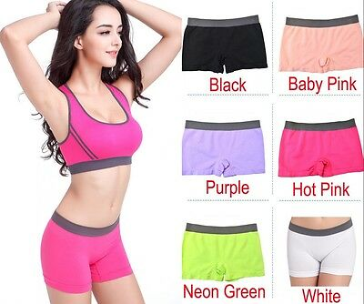 Seamless Stretch Shorts Solid Color Spandex Workout Basic Plain Tight Bike Yoga