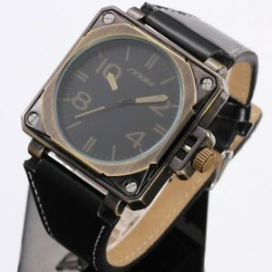 Vintage-Retro-Men-039-s-Leather-Strap-Sport-Military-Army-Quartz-Wrist-Watch-Bronze