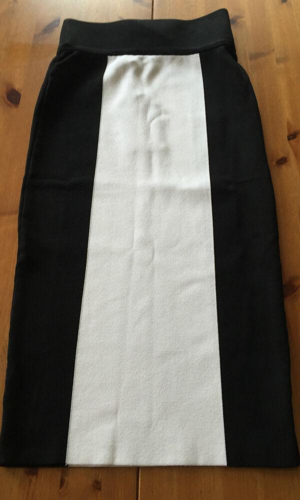 Balmain Paris H&m Rock Skirt Noir Blanc Eur T 34 Size Us 4 Size Uk 8