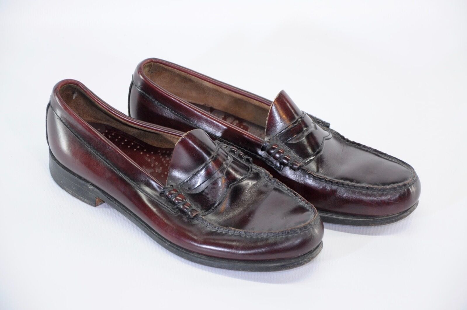 Scarpe casual da uomo Bass Weejuns Burgundy Cordovan Leather Beef Roll Penny Loafer 9.5