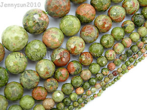 Natural-Unakite-Gemstone-Faceted-Round-Beads-15-039-039-2mm-4mm-6mm-8mm-10mm-12mm-14mm