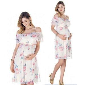 92f57da5ac38f Image is loading Pregnant-Women-Summer-Casual-Mini-Dress-Evening-Party-