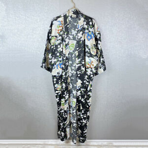 Geisha-Print-Kimono-One-Size-Women-039-s-Robe-Lounge-Sleepwear