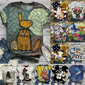 Womens Loose Tee Ladies Cat Blouse Basic Printed Shirt Short Sleeve Summer Tops