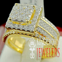 Ladies Womens Pure Yellow Sterling Silver 2 Piece Bridal Wedding Ring Band Set
