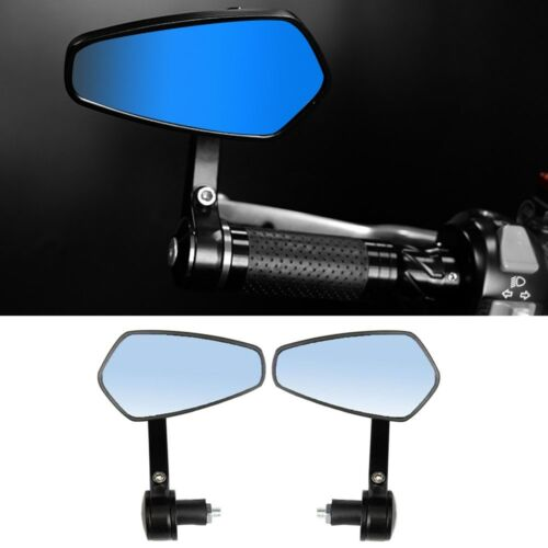 MOTORCYCLE HANDLE BAR END MIRRORS CNC ALUMINUM UNIVERSAL CAFE RACER MOTORBIKE