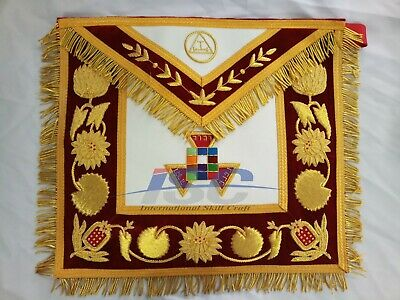 100/% Lambskin HAND EMBROIDERED MASONIC ROYAL ARCH PAST HIGH PRIEST APRON PHP