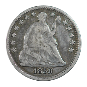 1858 Seated Liberty Half Dime Fine Condition