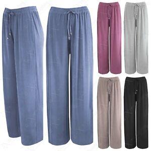 Mujer Elegante Pantalones Palazzo De Campana Largo Ancho Pierna Informal Prendas Ebay