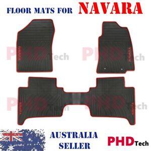 Premium-Quality-Rubber-car-floor-mats-Nissan-Navara-D40-Dual-Cab-05-15-Red-Trim