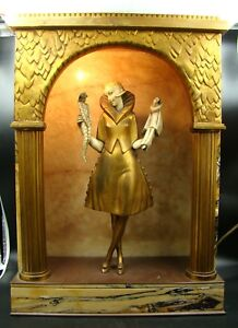 French Art Deco Gilt-bronze Lamp Girl With Puppets Figure By Pierre Le Faguays Spare No Cost At Any Cost Art Deco