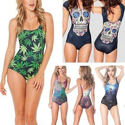 Summer Womens Tie Dye Sexy Bikini Swimsuit Wetsuit Stretch One-Piece Swimwear